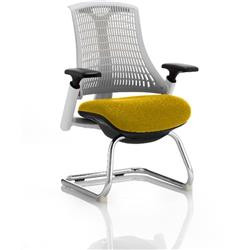 Flex Task Operator Chair White Back Cantilever White Frame Sunset Colour Seat With Arms Ref KCUP0725