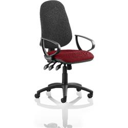 Eclipse XL III Lever Task Operator Chair Black Back Chilli Colour Seat With Loop Arms Ref KCUP0917