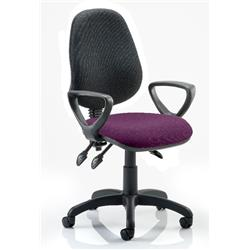 Eclipse III Lever Task Operator Chair Black Back Purple Colour Seat With Loop Arms Ref KCUP0884