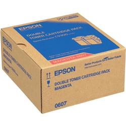Epson 0607 High Capacity Toner Cartridges (Yield 7500 Pages) Magenta (2 Pack) for AcuLaser C9300N Series Colour Laser Printer