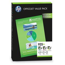 HP 935XL Officejet Value Pack Cyan/Magenta/Yellow Ink Cartridges + (A4) 25 Sheets 180gsm/2 Matt Paper + (A4) 50 Sheets HP All-in-One Printer Paper