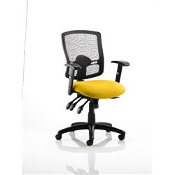 Portland III Task Operator Chair Black Mesh Back Sunset Colour Seat With Arms Ref KCUP0493