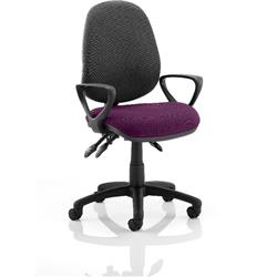Luna III Lever Task Operator Chair Black Back Purple Colour Seat With Loop Arms Ref KCUP0988