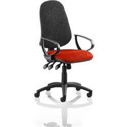 Eclipse XL III Lever Task Operator Chair Black Back Pimento Colour Seat With Loop Arms Ref KCUP0919