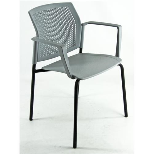 Foto Seduta meeting in acciaio nero UNISIT - grigio - conf. 2 Sedie pieghevoli, sgabelli e per sala d'attesa