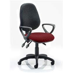 Eclipse III Lever Task Operator Chair Black Back Chilli Colour Seat With Loop Arms Ref KCUP0885