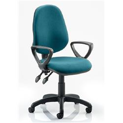 Eclipse II Lever Task Operator Chair Kingfisher Colour Fabric With Loop Arms Ref KCUP0838