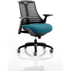 Flex Task Operator Chair Black Frame Black Back Kingfisher Colour Seat With Arms Ref KCUP0287