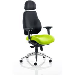 Chiro Plus Posture Chair Ultimate With Headrest Swizzle Colour Seat With Arms Ref KCUP0162