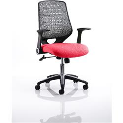 Relay Task Operator Chair Cherry Colour Silver Back With Arms Ref KCUP0513