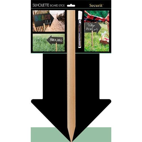 Foto Lavagna Silhouette Freccia con asta in legno Securit - 77,5x30 cm Lavagne a gesso liquido