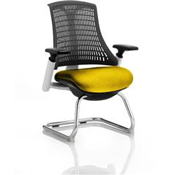 Flex Task Operator Chair White Frame Black Back Cantilever Sunset Colour Seat With Arms Ref KCUP0741