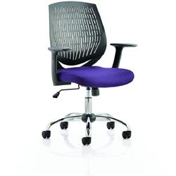 Dura Black Task Operator Chair Back Purple Colour Seat With Arms Ref KCUP0208