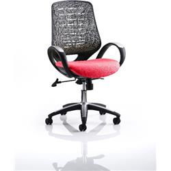 Sprint Task Operator Chair Cherry Colour Silver Back With Arms Ref KCUP0569