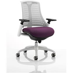Flex Task Operator Chair White Back White Frame Purple Colour Seat With Arms Ref KCUP0736