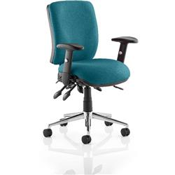 Chiro Task Operator Chair Medium Back Kingfisher Colour With Arms Ref KCUP0119