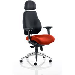 Chiro Plus Posture Chair Ultimate With Headrest Pimento Colour Seat With Arms Ref KCUP0164