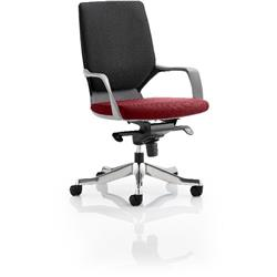 Xenon Executive Chair Black Medium Back Chilli Colour Seat With Arms Ref KCUP0638