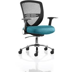 Iris Task Operator Chair Kingfisher Colour Seat With Arms Ref KCUP0303