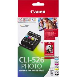 Canon Value Pack 4X6 (Photo Paper) CLI-526 C/M/Y/BK (Pack of 4 Ink Cartridges)