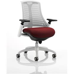 Flex Task Operator Chair White Back White Frame Chilli Colour Seat With Arms Ref KCUP0734