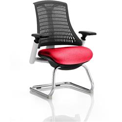 Flex Task Operator Chair White Frame Black Back Cantilever Cherry Colour Seat With Arms Ref KCUP0737
