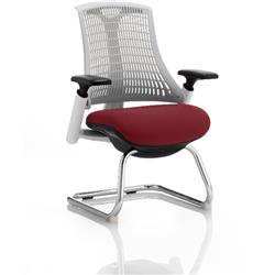 Flex Task Operator Chair White Back Cantilever White Frame Chilli Colour Seat With Arms Ref KCUP0726
