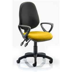 Eclipse II Lever Task Operator Chair Black Back Sunset Colour Seat Fabric With Loop Arms Ref KCUP0851