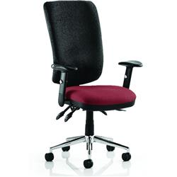 Chiro Task Operator Chair High Back Chilli Colour Seat With Arms Ref KCUP0110