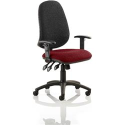 Eclipse XL III Lever Task Operator Chair Black Back Chilli Colour Seat With Height Adjustable Arms Ref KCUP0909