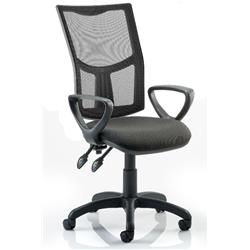 Eclipse II Task Operator Chair With Black Mesh Back Black Fabric Seat With Loop Arms Ref KC0175