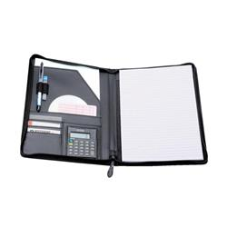 5 Star Elite Writing Case Zipped with Pad and Calculator A4 Leather Look Black