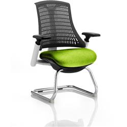 Flex Task Operator Chair White Frame Black Back Cantilever Swizzle Colour Seat With Arms Ref KCUP0738