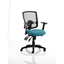 Portland III Task Operator Chair Black Mesh Back Kingfisher Colour Seat With Arms Ref KCUP0495