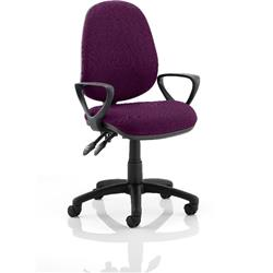 Luna II Lever Task Operator Chair Purple Colour With Loop Arms Ref KCUP0940