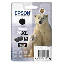 Epson 26XL Inkjet Cartridge Polar Bear Capacity 12.2ml 500pp Black Ref C13T26214012