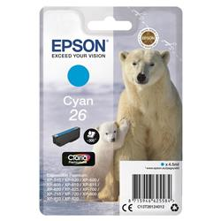 Epson T2612 26 Inkjet Cartridge Polar Bear Capacity 4.5ml 300pp Cyan Ref C13T26124012