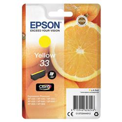 Epson T33 Inkjet Cartridge Capacity 4.5ml Yellow Ref C13T33444012