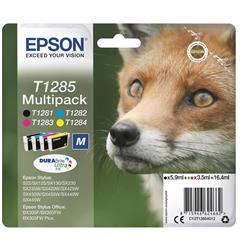 Epson T1285 Inkjet Cartridge DURABrite Fox 16.4ml C/M/Y/K Ref C13T12854012 [Pack 4]