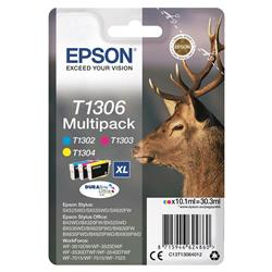 Epson T1306 Inkjet Cartridge Stag XL Capacity 30.3ml Cyan/Magenta/Yellow Ref C13T13064012 [Pack 3]