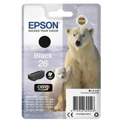 Epson T2601 26 Inkjet Cartridge Polar Bear Capacity 6.2ml 200pp Black Ref C13T26014012