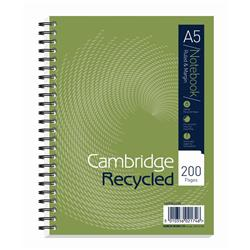 Cambridge Notebook Recycled Wirebound Ruled Margin 200pp 80gsm A5 Green Ref 100080106 [Pack 3]