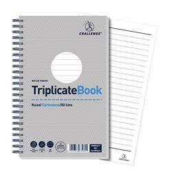 Challenge Triplicate Book Carbonless Wirebound Ruled 50 Sets 210x130mm Ref 100080512 - Pack 5