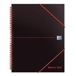 Black n Red Meeting Book Plastic Wirebound Rear Elasticated 3-Flap Folder A4plus Ref 100104323 - Pack 5