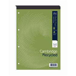 Cambridge Recycled Refill Pad Headbound Ruled & Margin 4-Hole 70gsm 80 Sheets A4 Ref 100080151 [Pack 5]
