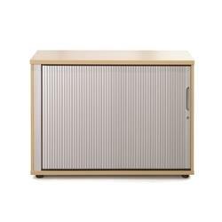 Sonix Tambour Door Cupboard Low Rich Beech/Silver - w9868b - w9868b