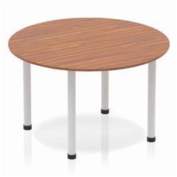 Impulse Circle Table 1200 Walnut Post Leg Silver Ref BF00208