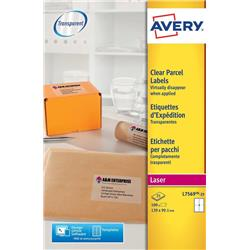 Avery Parcel Labels Clear Gloss Laser 139x99.1mm Ref L7569-25 [Pack 100]