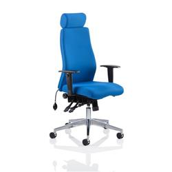 Onyx Ergo Posture Chair Blue Fabric With Headrest With Arms Ref OP000096
