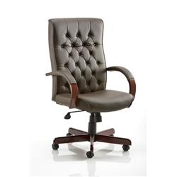 Chesterfield Executive Chair Brown Bonded Leather With Arms Ref EX000003